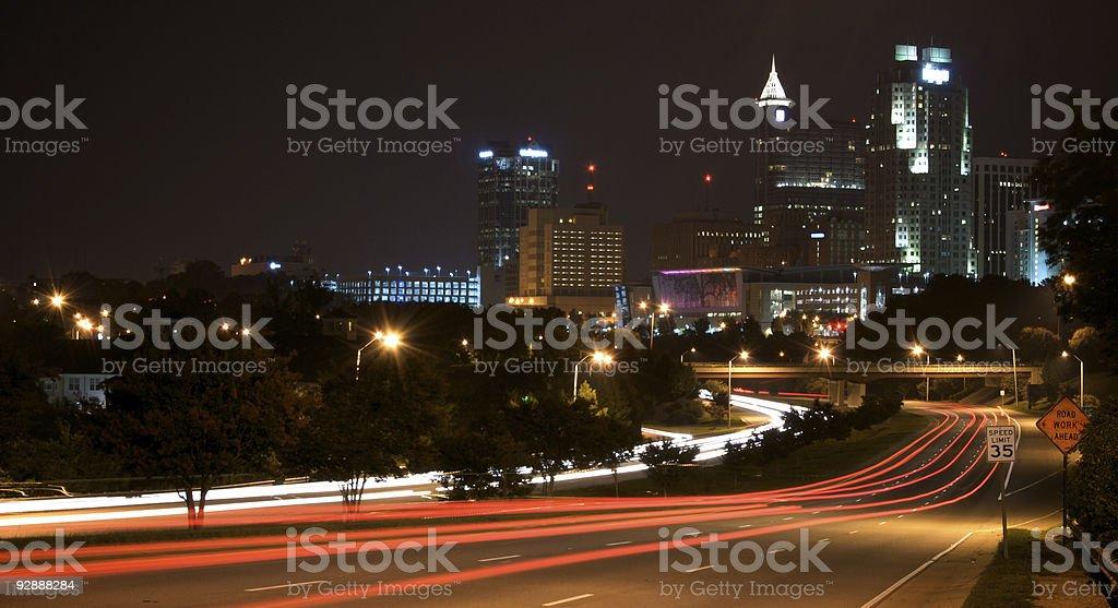 Downtown Raleigh North Carolina City Skyline at Night stock photo
