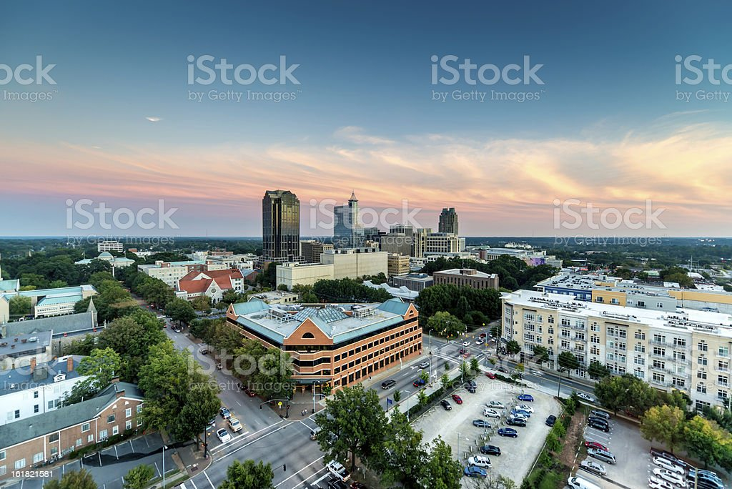 Downtown Raleigh Twilight, North Carolina stock photo