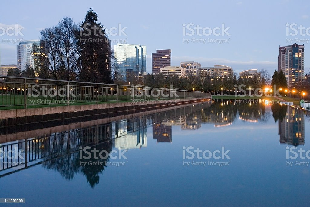 Downtown reflections stock photo