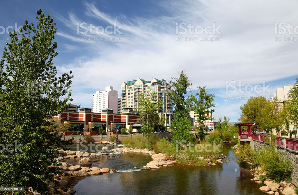 Downtown Reno along  the Truckee River stock photo