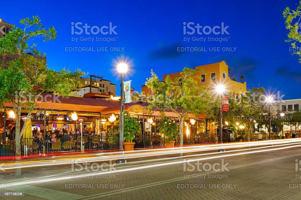 Downtown Restaurant Sarasota Florida USA People Dining stock photo