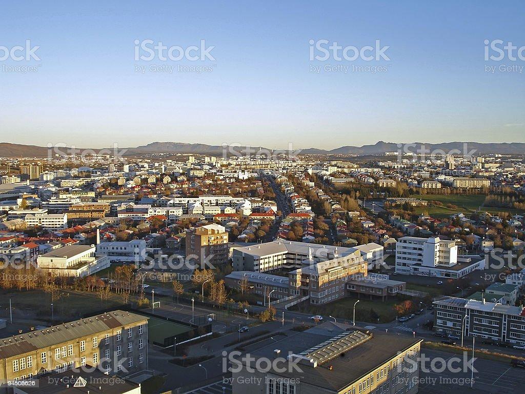 Downtown Reykjavik, Iceland, view from Hallgrimskirkja church royalty-free stock photo