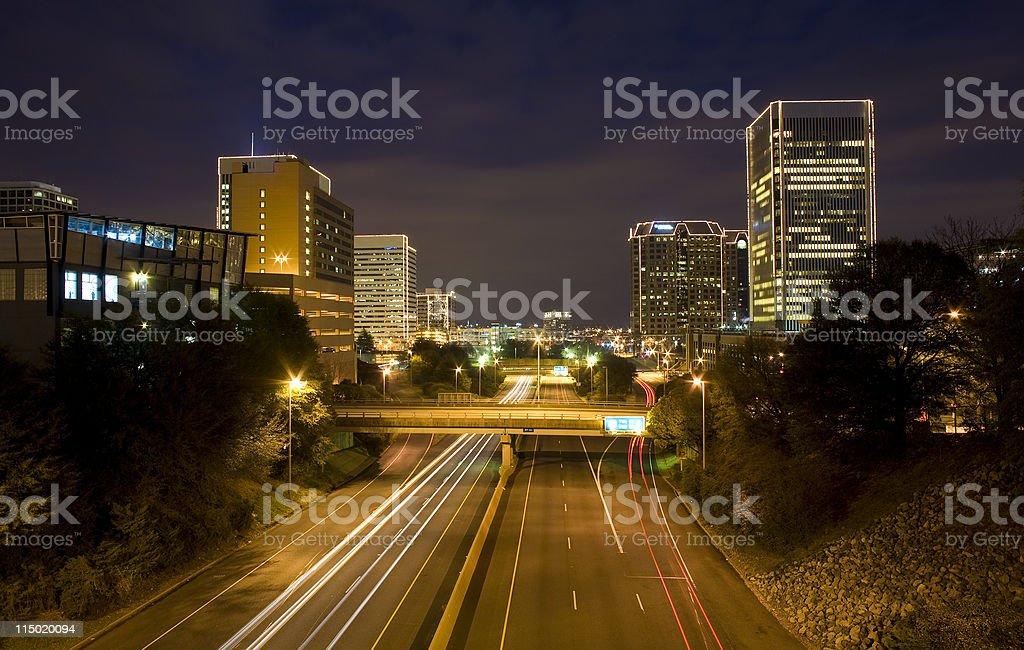 Downtown Richmond, Virginia At Night royalty-free stock photo
