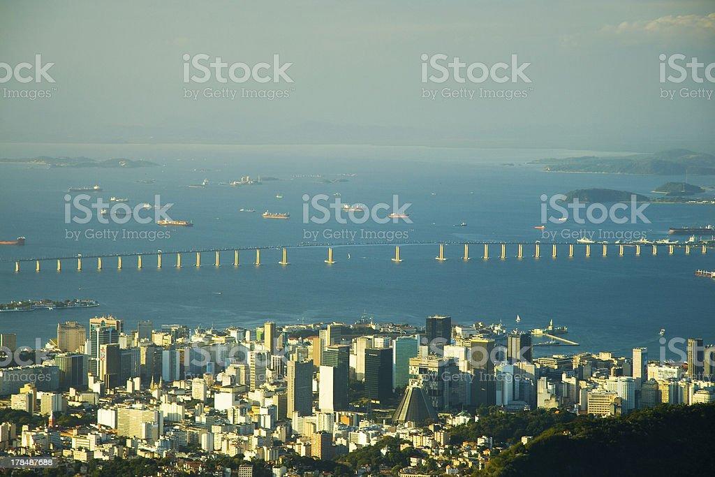 Downtown Rio and the Rio-Niteroi Bridge royalty-free stock photo