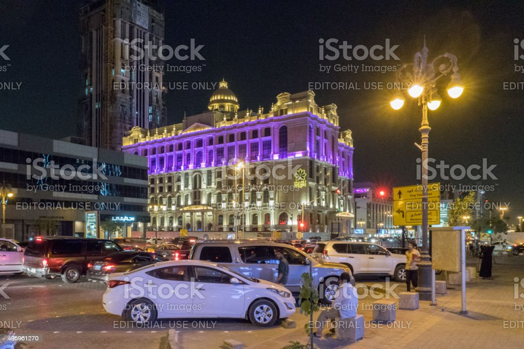 Downtown Riyadh, Saudi Arabia, by night stock photo