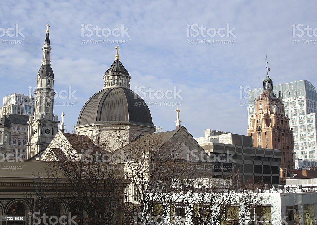Downtown Sacramento California church, city skyscape royalty-free stock photo