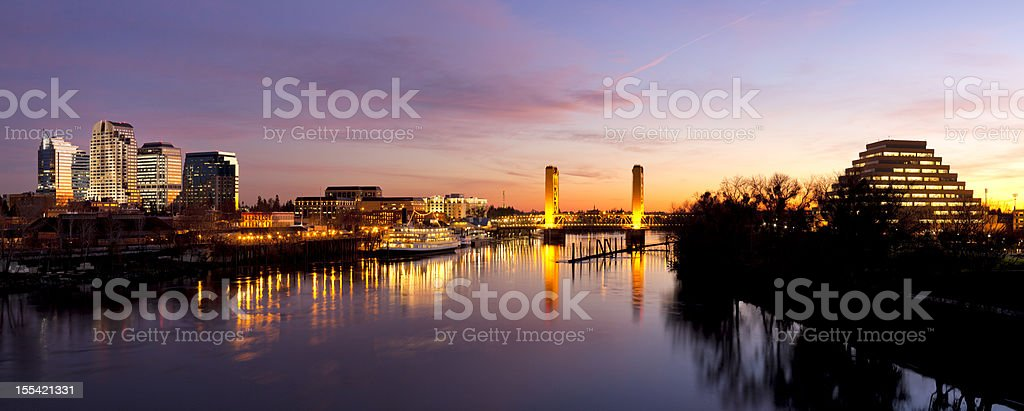 Downtown Sacramento skyline  after sunset stock photo