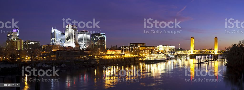 Downtown Sacramento skyline at late dusk stock photo