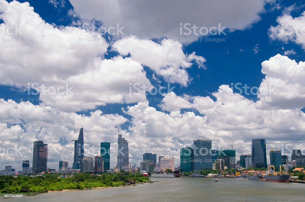 Downtown Saigon, HoChiMinh city - the biggest city in Vietnam. stock photo