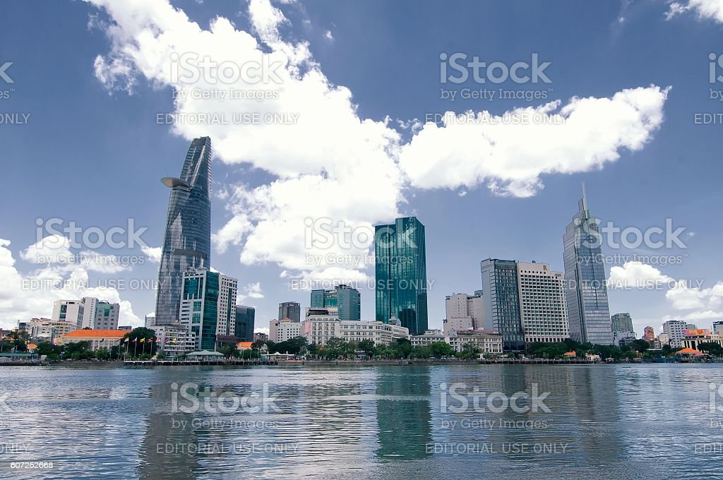 Downtown Saigon, HoChiMinh city - the biggest city in Vietnam. stock photo