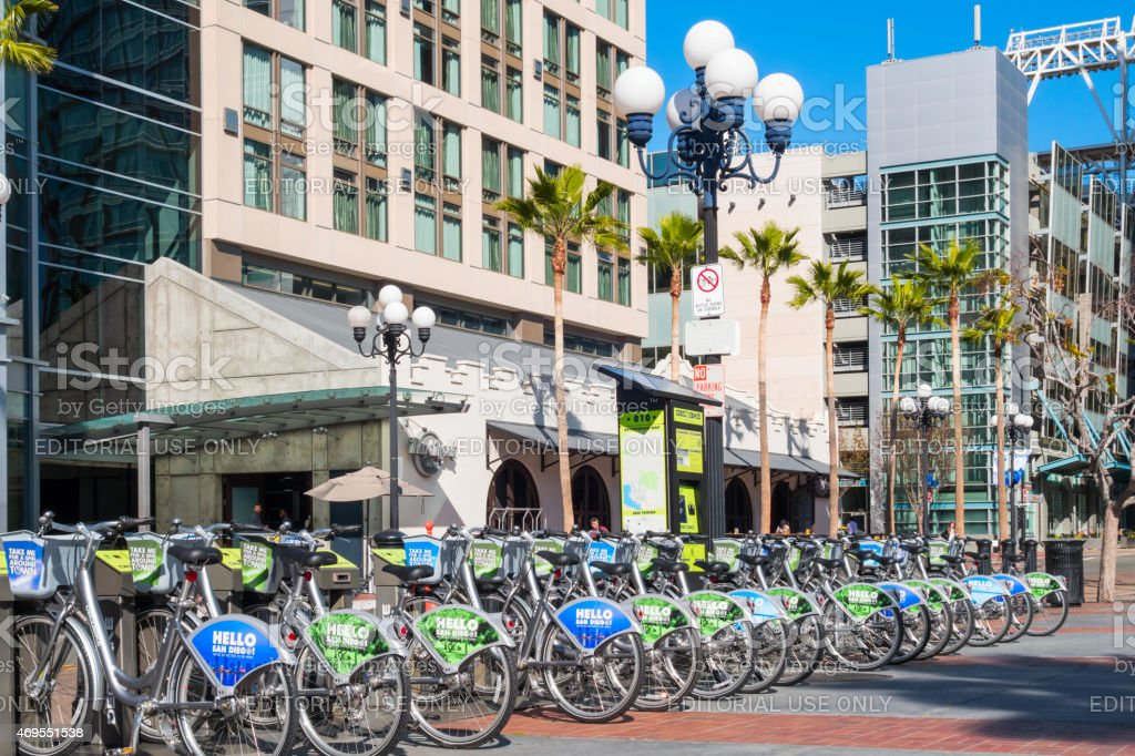 Downtown San Diego Bike Rental and Sharing Station with Bicycles stock photo