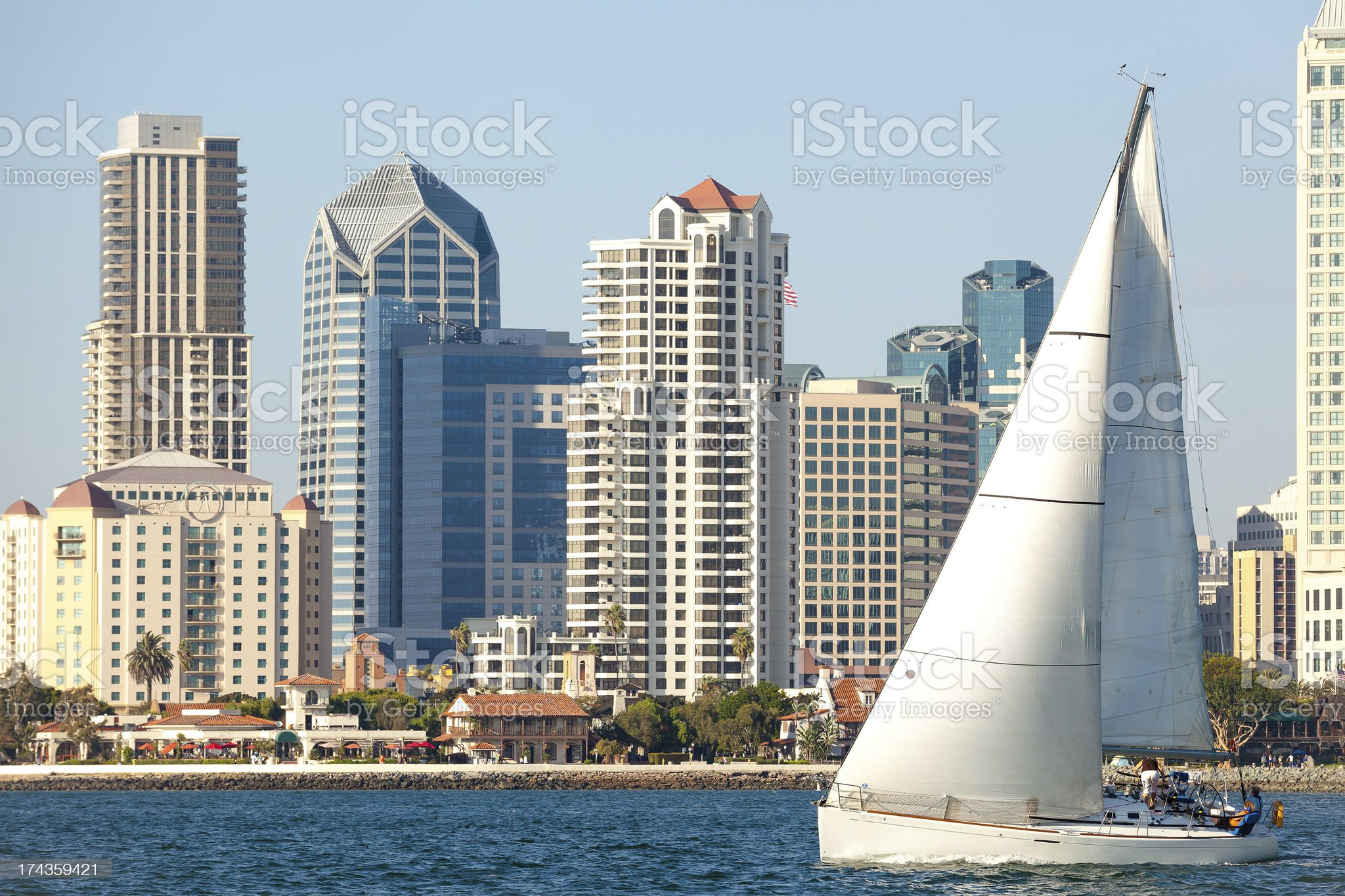 Downtown San Diego, California and Sail Boat royalty-free stock photo