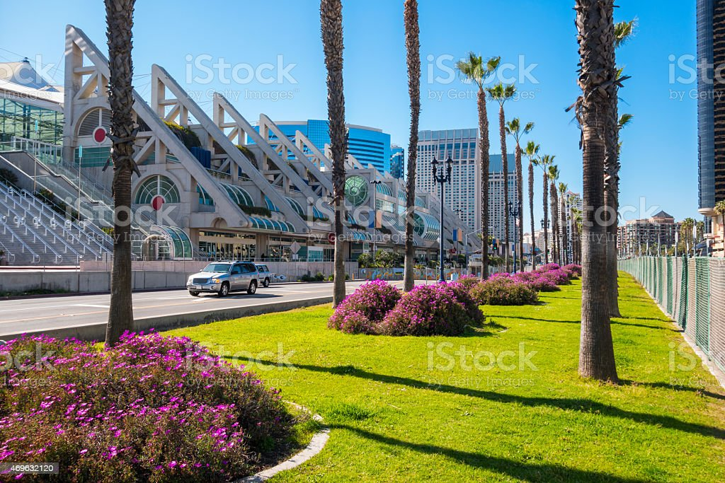 Downtown San Diego Harbor Drive with Palm Trees Convention Center stock photo