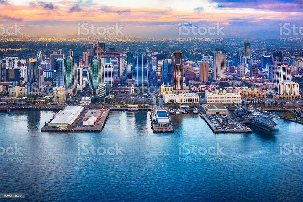 Downtown San Diego Skyline Aerial stock photo