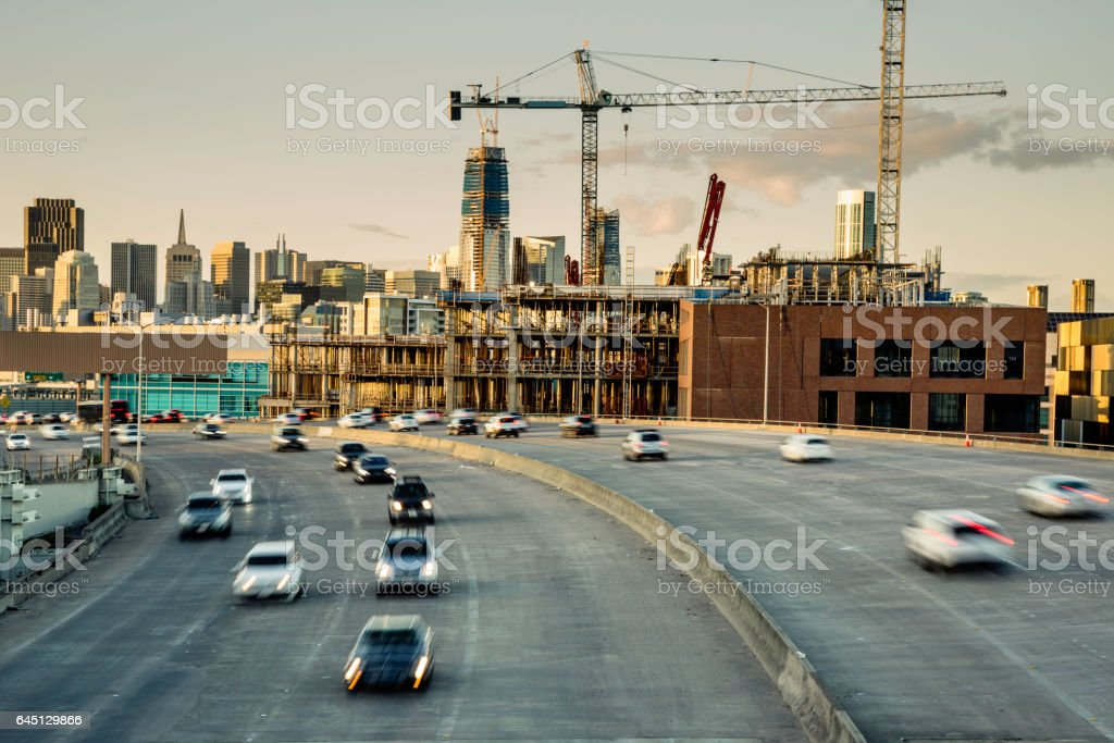 Downtown San Francisco Cranes and Highway stock photo