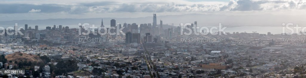 Downtown San Francisco Skyline on a Foggy and Cloudy day stock photo