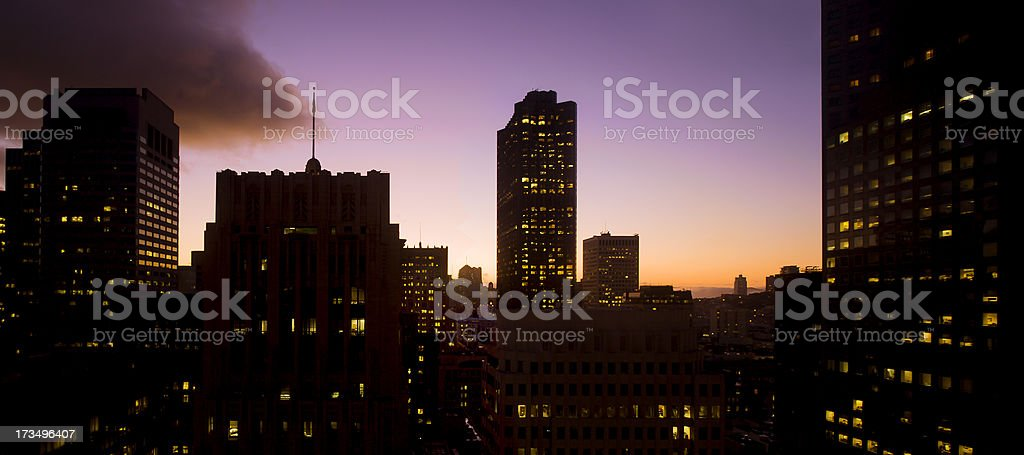 Downtown San Francisco Sunset royalty-free stock photo