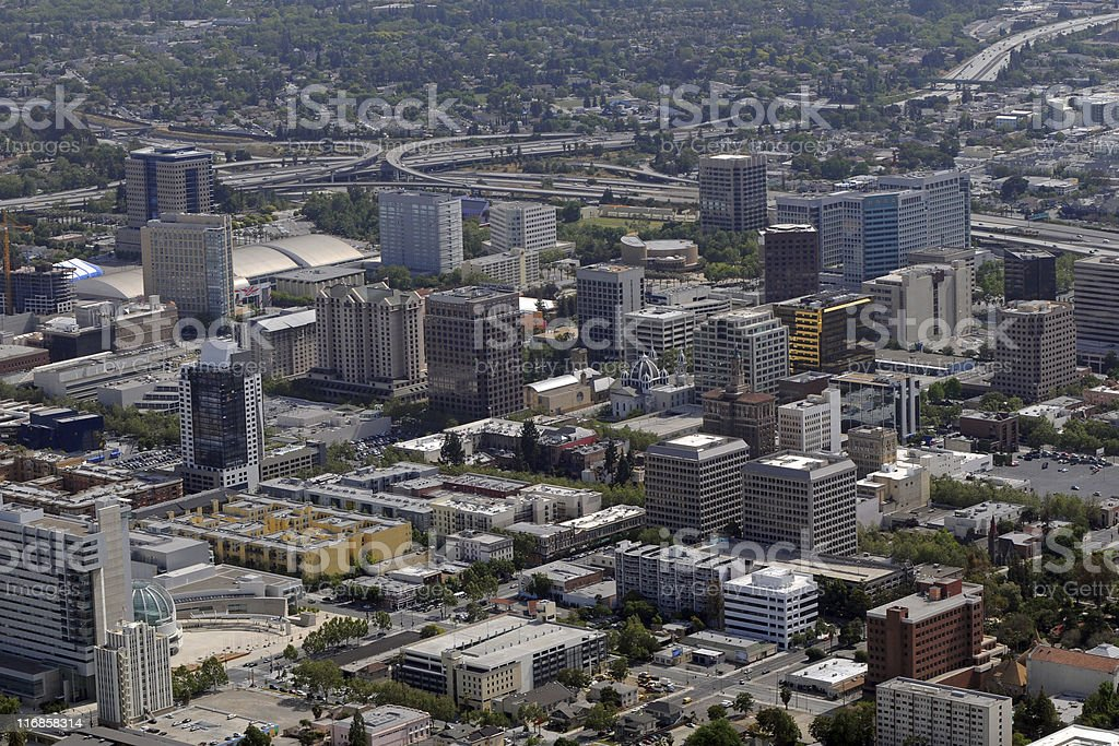 downtown San Jose, California skyline with freeways in background stock photo