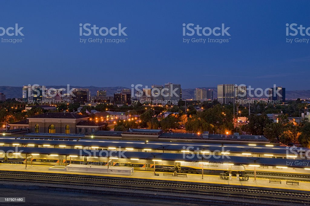 Downtown San Jose, California, with train station. stock photo