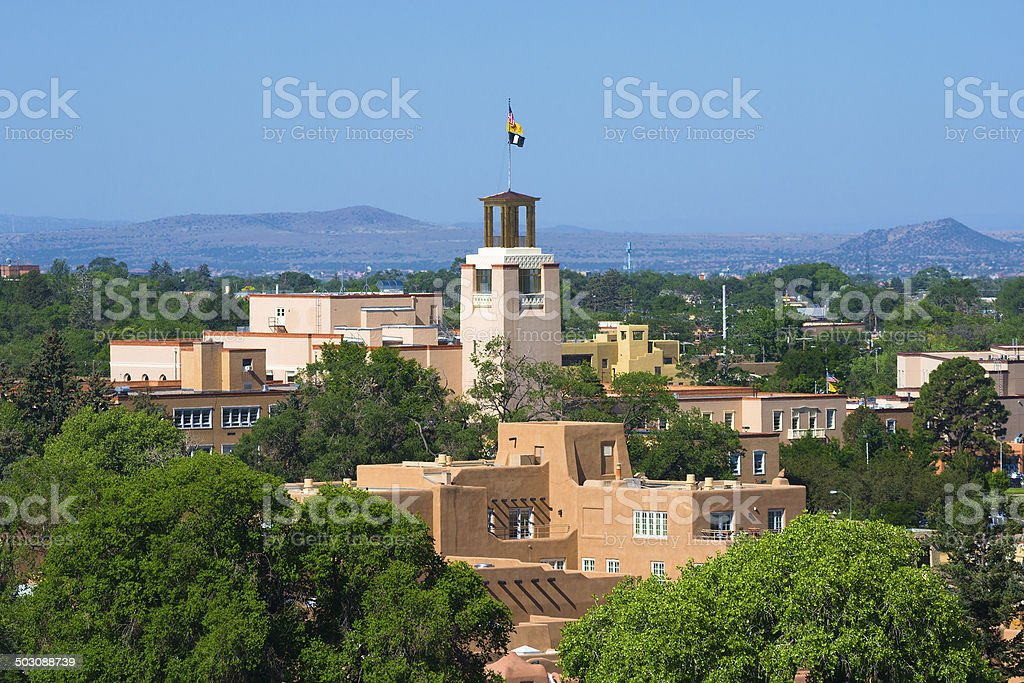 Downtown Santa Fe skyline closeup stock photo