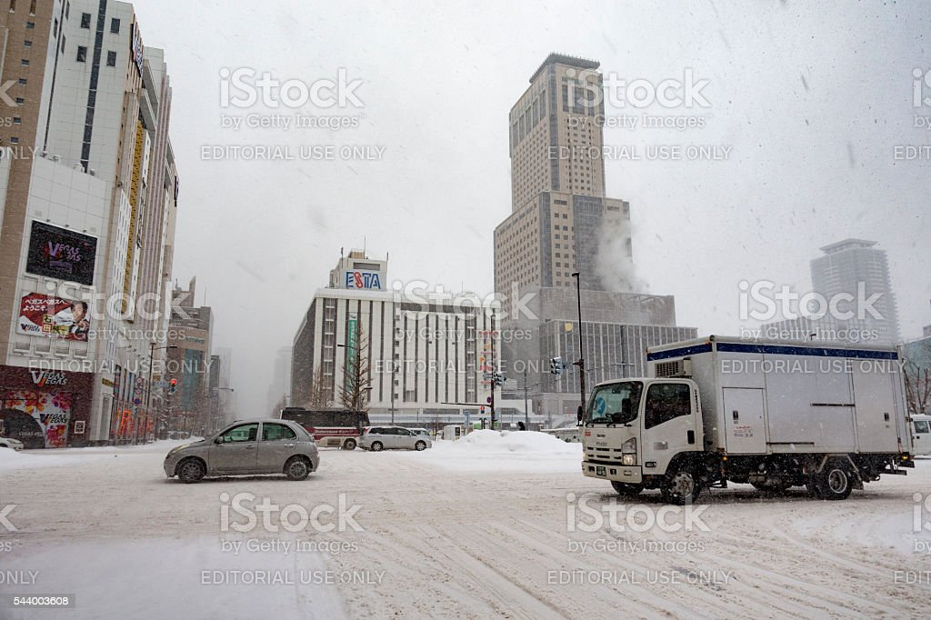 Downtown Sapporo During Winter Driving Conditions stock photo