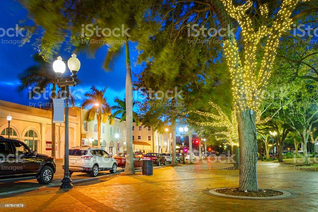 Downtown Sarasota Florida USA at Twilight stock photo