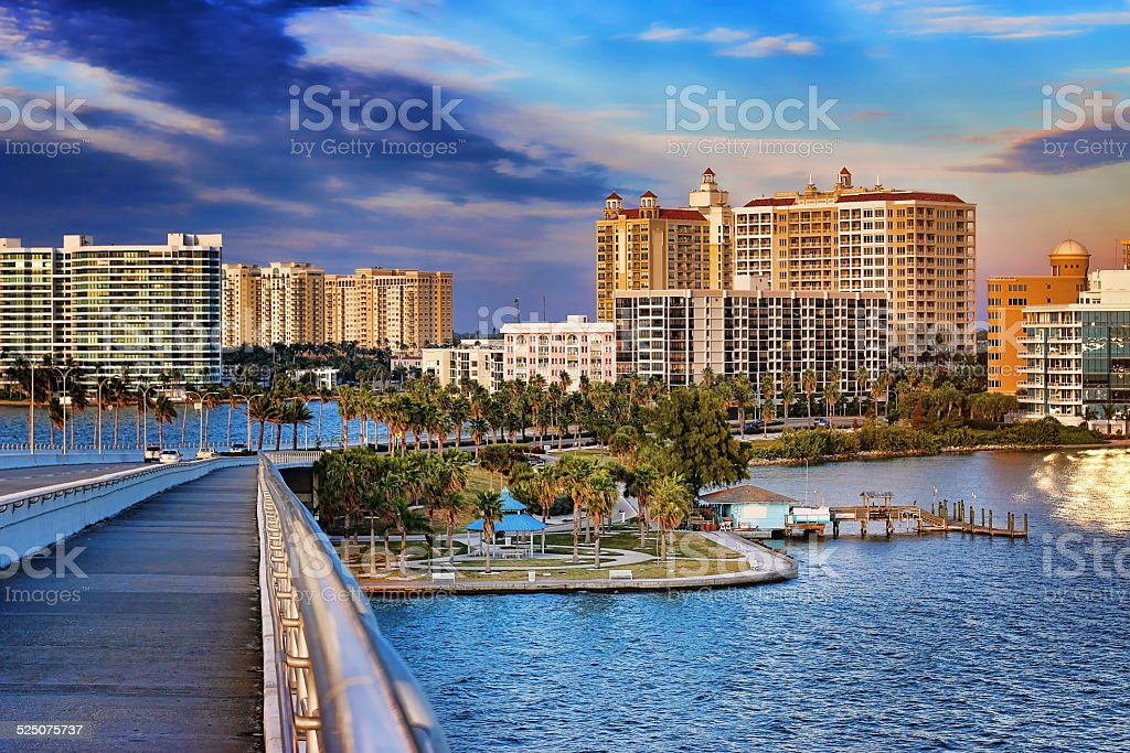 Downtown Sarasota from Ringling Bridge stock photo