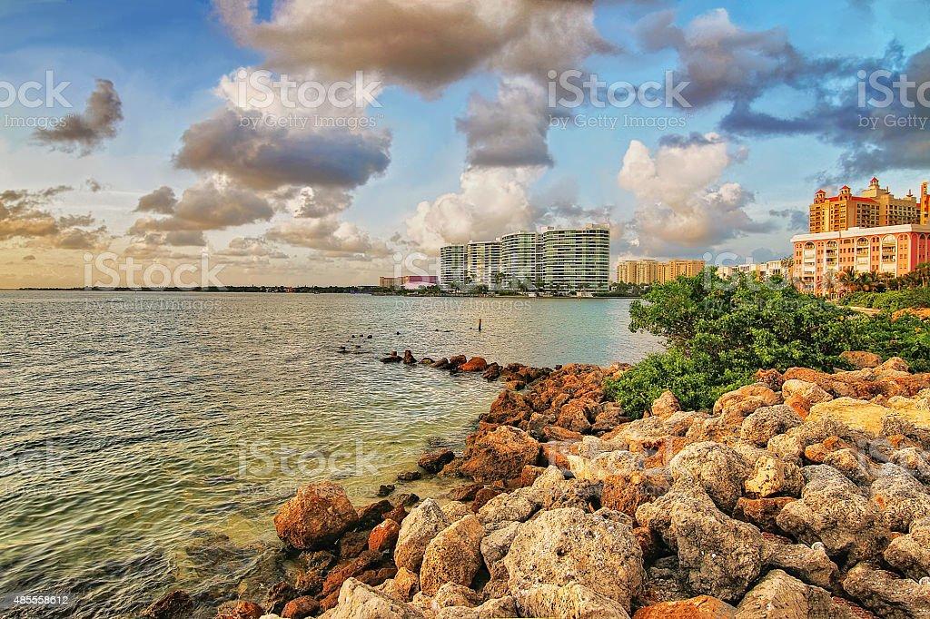Downtown Sarasota from the Ringling Bridge stock photo
