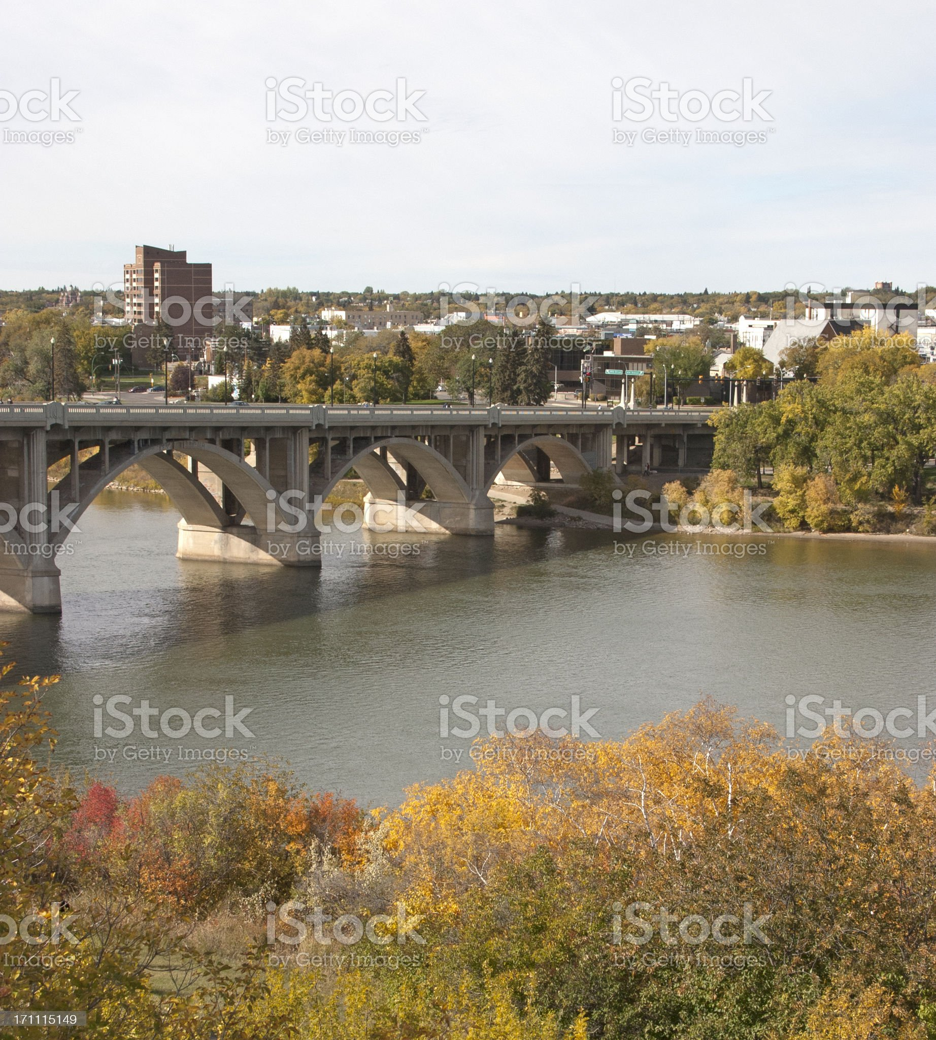 Downtown Saskatoon and Broadway Bridge royalty-free stock photo