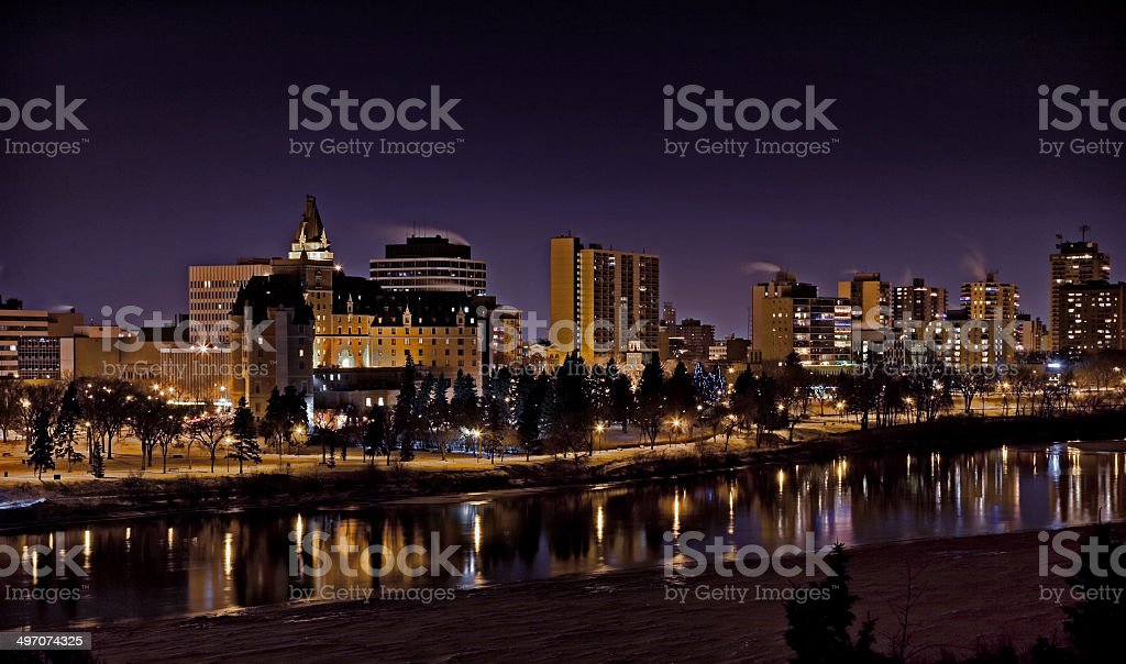 Downtown Saskatoon at Night with Hotel and Condominiums stock photo