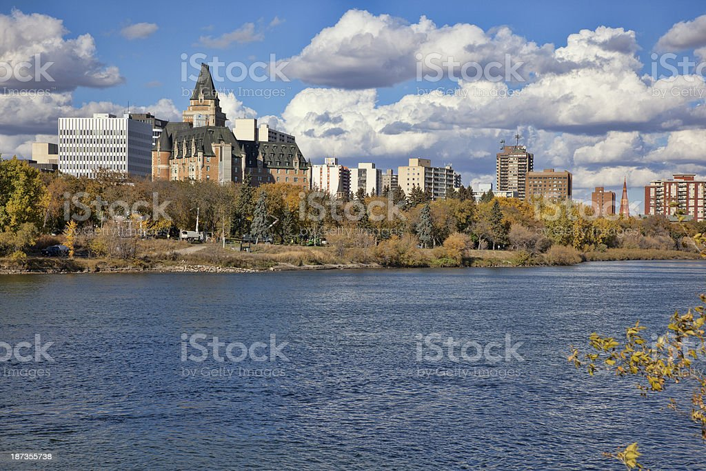 Downtown Saskatoon in Fall stock photo