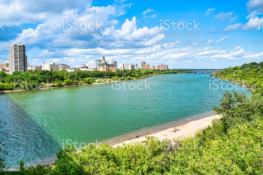 Downtown Saskatoon in Summer. stock photo