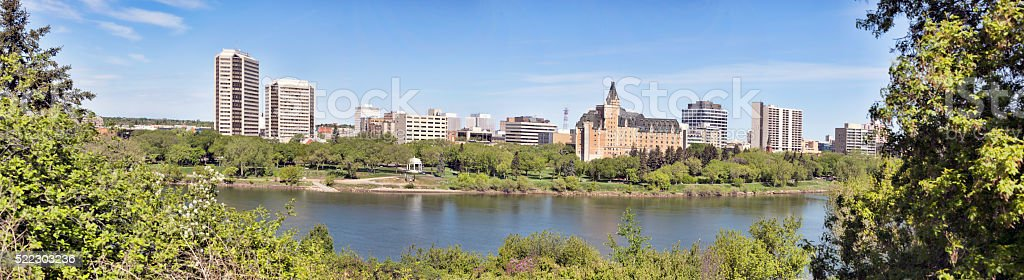 Downtown Saskatoon Panorama with Hotels and Office Buildings stock photo