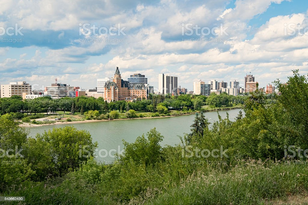 Downtown Saskatoon Riverbank in Summer stock photo