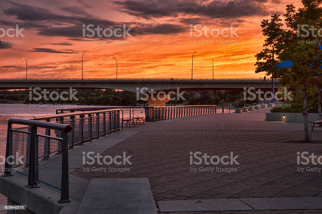Downtown Saskatoon Sunset Beside South Saskatchewan River stock photo