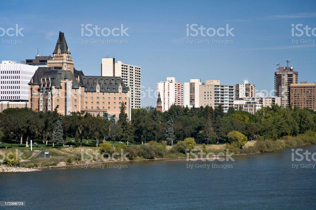 Downtown Saskatoon with Bessborough Hotel stock photo