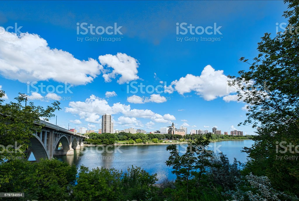 Downtown Saskatoon with Hotels and Office Buildings stock photo