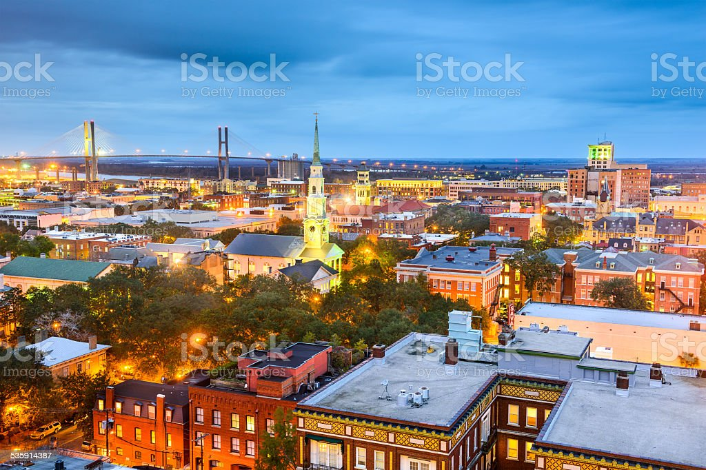 Downtown Savannah, Georgia, USA stock photo