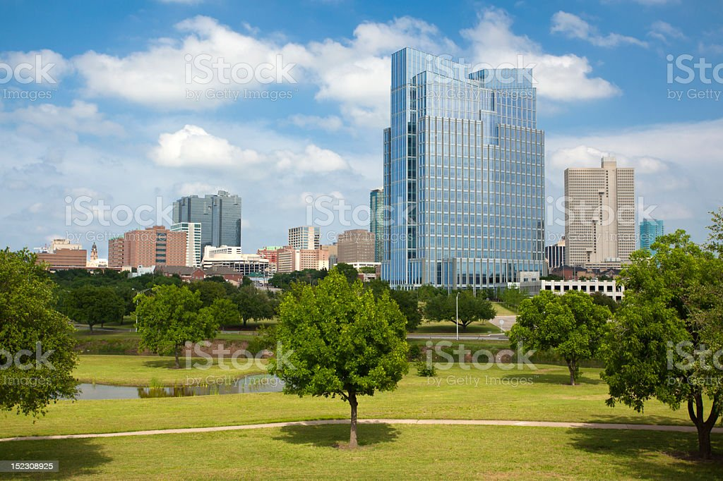 Downtown scenic photo of Fort Worth, Texas stock photo