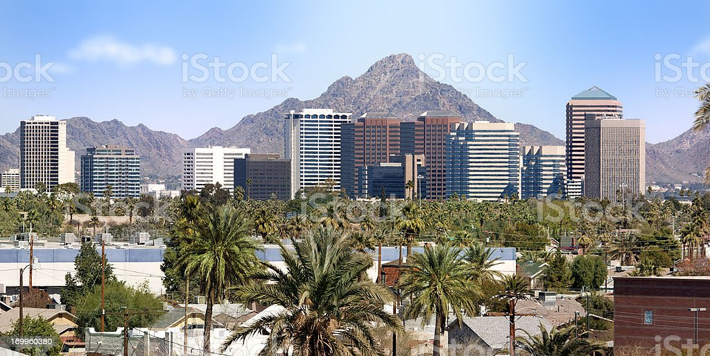 Downtown Scottsdale and suburbs of Phoenix stock photo