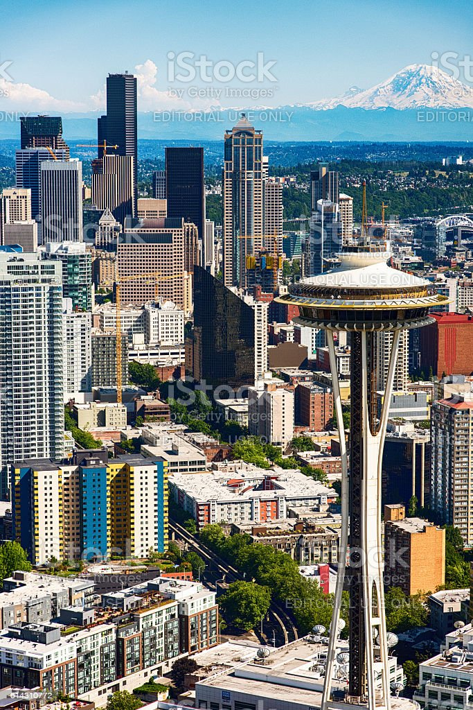 Downtown Seattle and the Space Needle stock photo