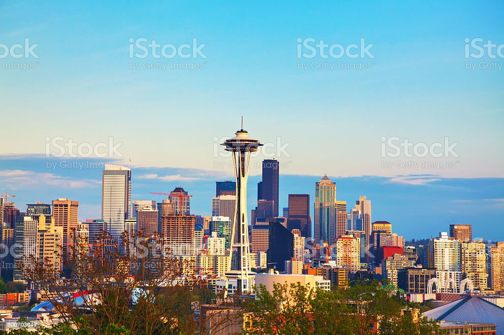 Downtown Seattle as seen from the Kerry park stock photo