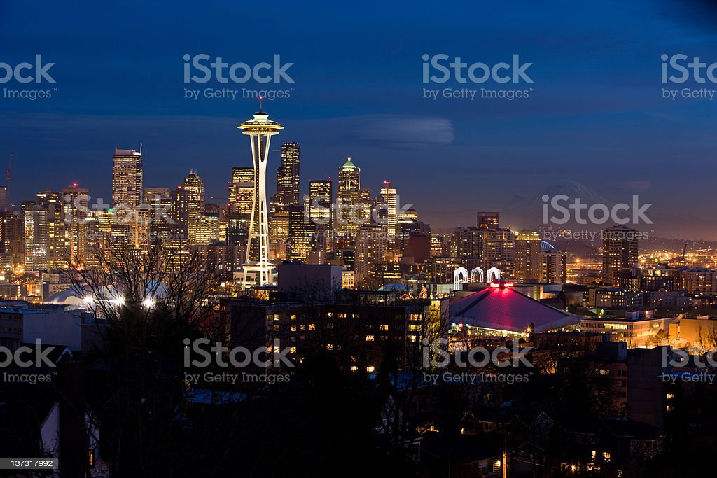 Downtown Seattle At Dusk royalty-free stock photo