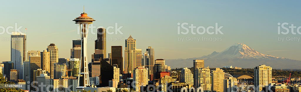 Downtown Seattle City Skyline and Mount Rainier in the USA royalty-free stock photo