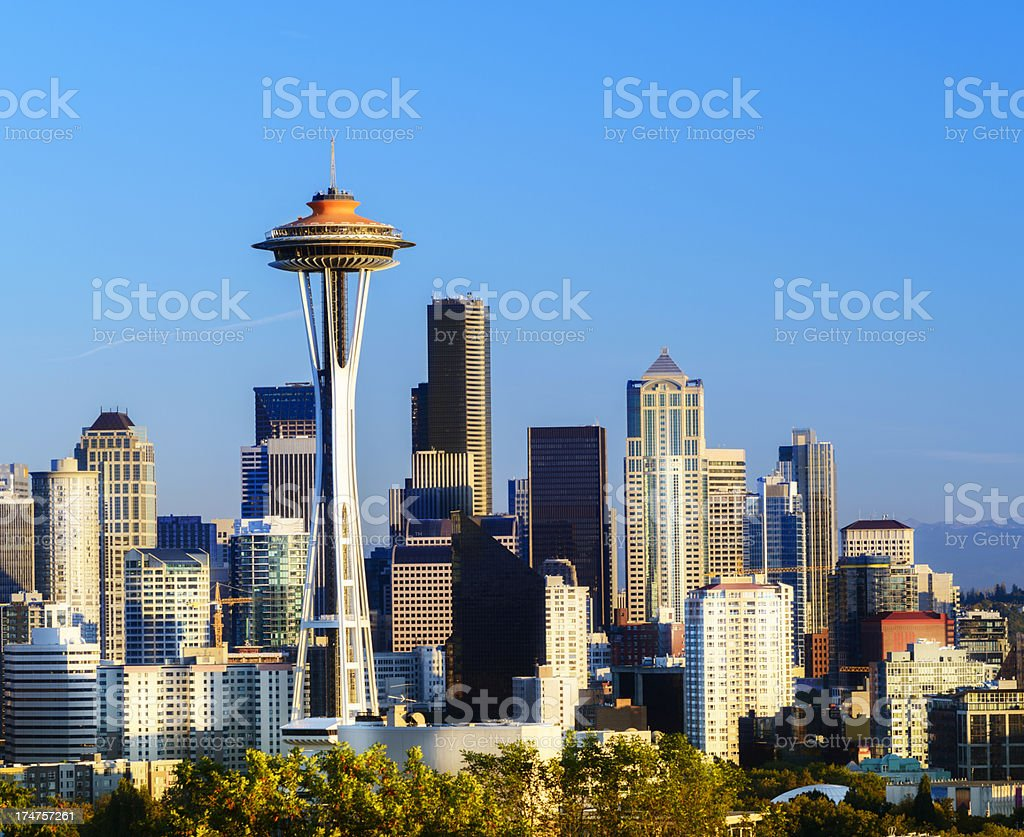 Downtown Seattle City Skyline in the USA stock photo
