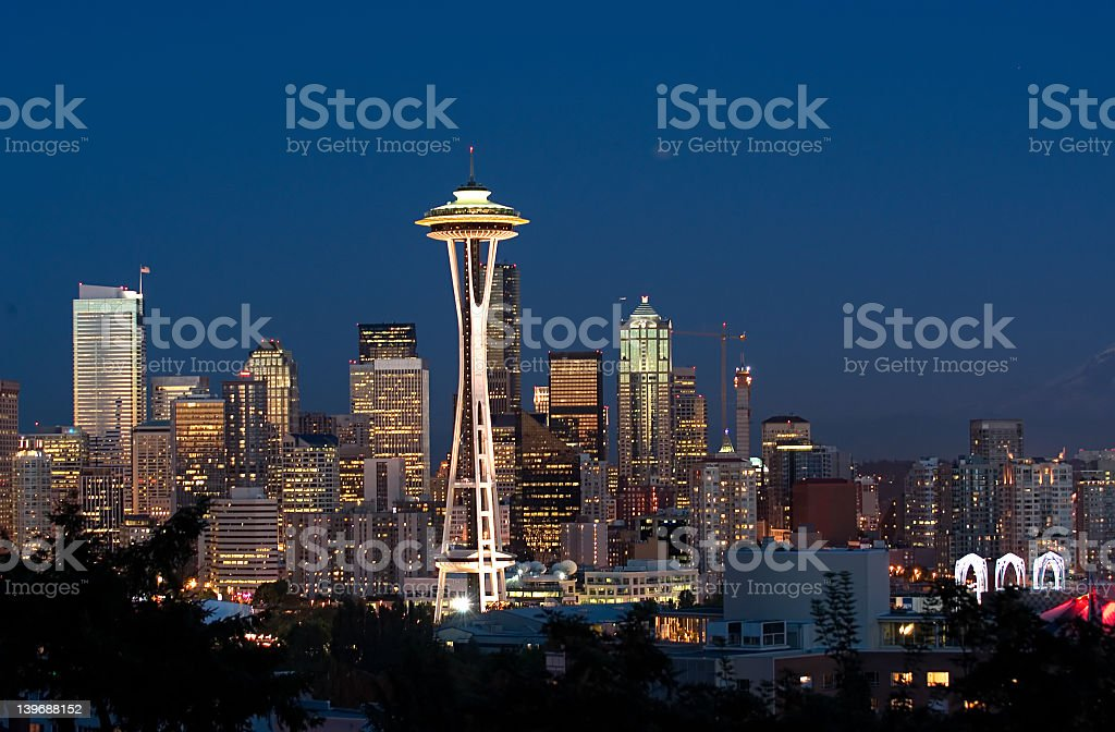 Downtown Seattle cityscape at night royalty-free stock photo