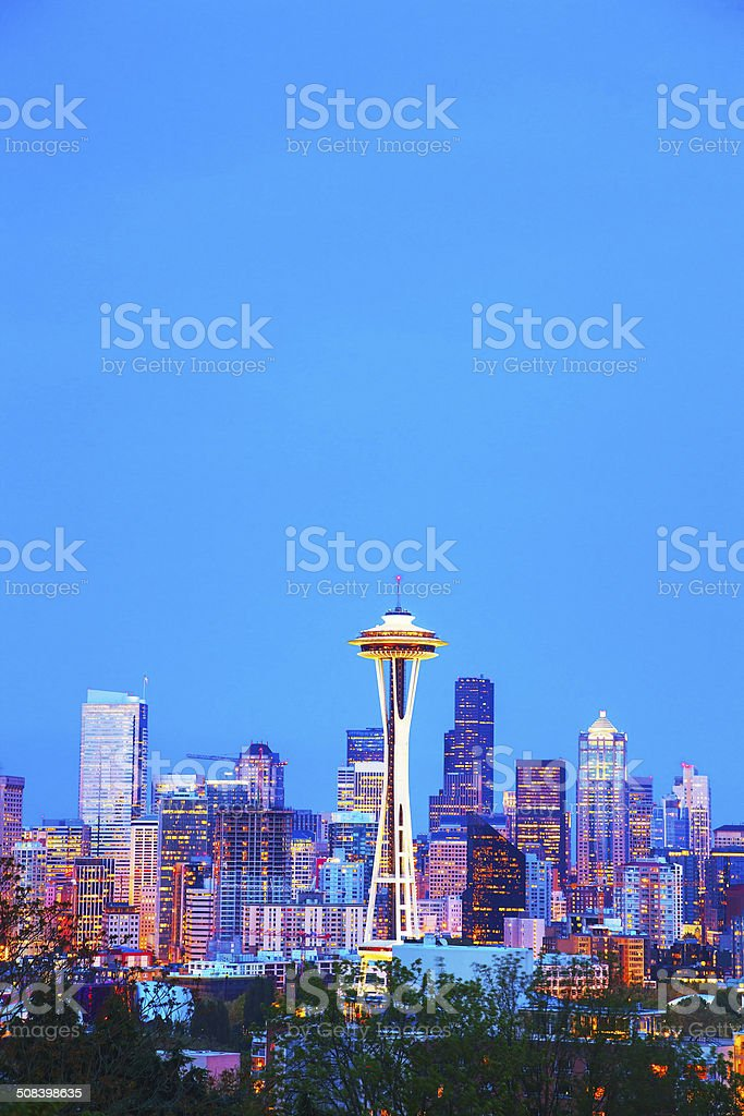 Downtown Seattle cityscape with Space Needle stock photo