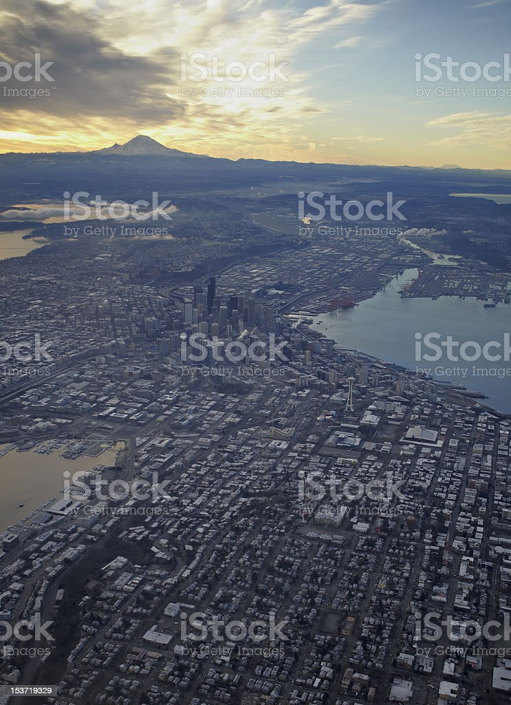 Downtown Seattle from the Air with Mt. Rainier stock photo