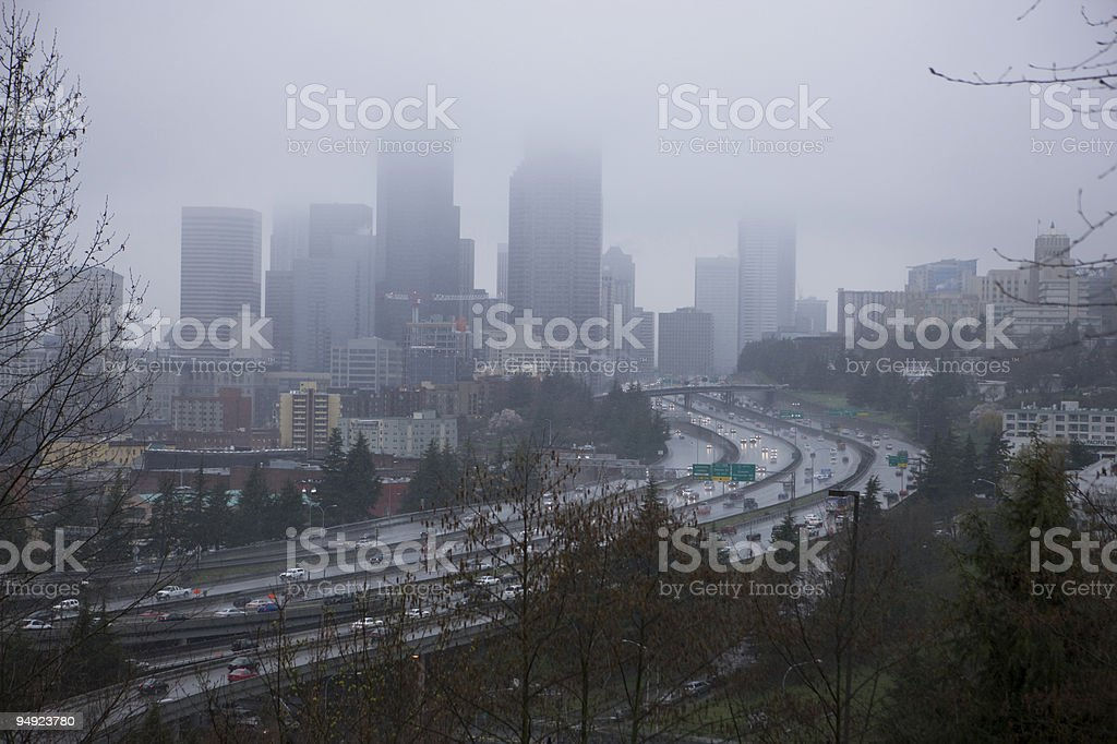 Downtown Seattle in a Rain Storm and Fog royalty-free stock photo