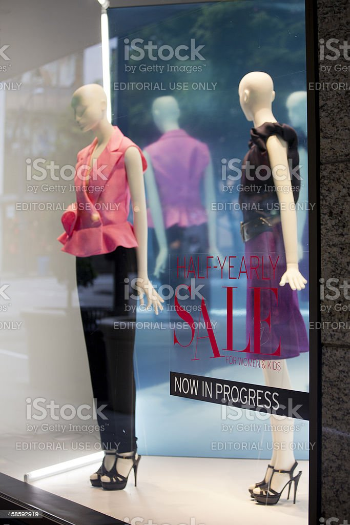 Downtown Seattle Retail Shopping District with Nordstom Departme stock photo